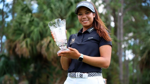 <p>               In this photo provided by the LPGA/Symetra Tour, Patty Tavatanakit poses with the trophy as Symetra Tour rookie of the year. The 20-year-old Thai from UCLA needed only three months to earn an LPGA Tour card for 2020. (Zachary Sepanik/LPGA/Symetra Tour via AP)             </p>