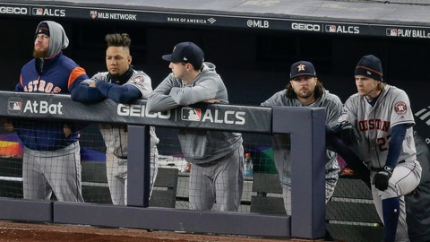 <p>               The Houston Astros watch play from the dugout during the ninth inning of Game 5 of baseball's American League Championship Series against the New York Yankees, Friday, Oct. 18, 2019, in New York. The Yankees won 4-1. (AP Photo/Seth Wenig)             </p>