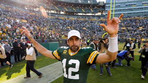 <p>               Green Bay Packers' Aaron Rodgers reacts after an NFL football game against the Oakland Raiders Sunday, Oct. 20, 2019, in Green Bay, Wis. The Packers won 42-24. (AP Photo/Mike Roemer)             </p>