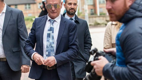 <p>               Former soccer player Paul Gascoigne leaves court, after giving evidence on the 2nd day of his trial at court on charges of alleged sexual assault on a train,  in Middlesbrough, England, Tuesday Oct. 15, 2019.  The former player was arrested for allegedly kissing a woman in August 2018 on a train between York and Newcastle. (Danny Lawson/PA via AP)             </p>