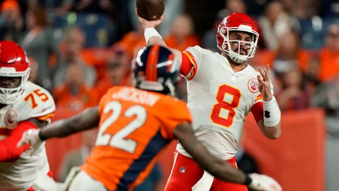 <p>               Kansas City Chiefs quarterback Matt Moore (8) throws as Denver Broncos defensive back Kareem Jackson (22) pursues during the second half of an NFL football game, Thursday, Oct. 17, 2019, in Denver. (AP Photo/Jack Dempsey)             </p>