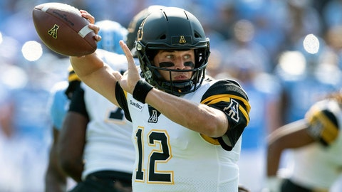 <p>               FILE - In this Sept. 21, 2019, file photo, Appalachian State's Zac Thomas throws a pass during an NCAA college football game against North Carolina in Chapel Hill, N.C. No. 24 Appalachian State are ranked for the second time ever. They take on Louisiana-Monroe at home on Saturday, Oct. 19.  (AP Photo/Ben McKeown, File)             </p>