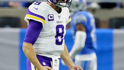 <p>               Minnesota Vikings quarterback Kirk Cousins reacts after a touchdown during the second half of an NFL football game against the Detroit Lions, Sunday, Oct. 20, 2019, in Detroit. (AP Photo/Duane Burleson)             </p>