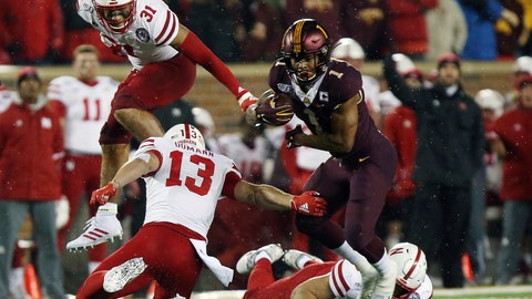 <p>               Minnesota running back Rodney Smith (1) breaks free from a tackle by Nebraska linebacker JoJo Domann (13) during an NCAA college football game Saturday, Oct. 12, 2019, in Minneapolis. (AP Photo/Stacy Bengs)             </p>