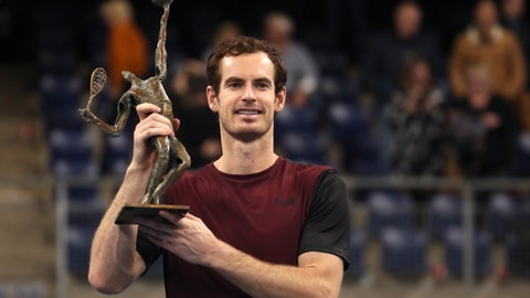 <p>               Andy Murray of Britain poses with the trophy after winning the European Open final tennis match in Antwerp, Belgium, Sunday, Oct. 20, 2019. Murray defeated Stan Wawrinka of Switzerland 3-6/6-4/6-4. (AP Photo/Francisco Seco)             </p>