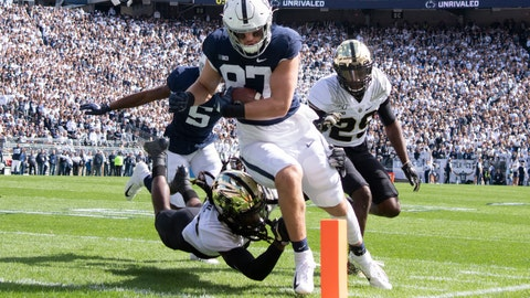 <p>               Penn State tight end Pat Freiermuth (87) scores on a 7-yard touchdown pass in the second quarter of an NCAA college football game against Purdue in State College, Pa., on Saturday, Oct. 5, 2019. (AP Photo/Barry Reeger)             </p>