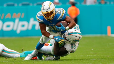 <p>               Los Angeles Chargers running back Austin Ekeler (30) is tackled by Miami Dolphins defensive end Taco Charlton (96), during the second half at an NFL football game, Sunday, Sept. 29, 2019, in Miami Gardens, Fla. (AP Photo/Wilfredo Lee)             </p>