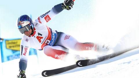 <p>               France's Alexis Pinturault speeds down the course during an alpine ski, men's World Cup giant slalom in Soelden, Austria, Sunday, Oct. 27, 2019. (AP Photo/Alessandro Trovati)             </p>