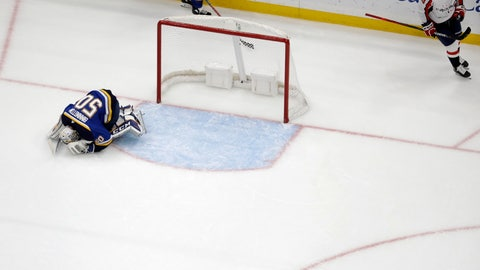 <p>               St. Louis Blues goaltender Jordan Binnington, left, reacts after giving up the game-winning goal to Washington Capitals' Jakub Vrana, right, of the Czech Republic, during overtime of an NHL hockey game, Wednesday, Oct. 2, 2019, in St. Louis. The Capitals won 3-2 in overtime. (AP Photo/Jeff Roberson)             </p>