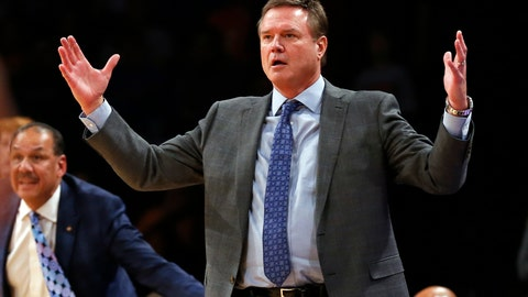<p>               FILE - In this Nov. 23, 2018, file photo, Kansas head coach Bill Self reacts against Tennessee during the second half of an NCAA college basketball game in the NIT Season Tip-Off tournament in New York. There has been more attention on Kansas basketball over the past six months in court rooms than on basketball courts, and Self and the rest of the No. 3 Jayhawks are ready for that to change. (AP Photo/Adam Hunger, File)             </p>