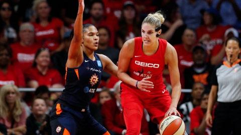 <p>               Washington Mystics forward Elena Delle Donne, right, drives against Connecticut Sun forward Alyssa Thomas during the first half of Game 5 of basketball's WNBA Finals, Thursday, Oct. 10, 2019, in Washington. (AP Photo/Alex Brandon)             </p>