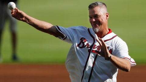 <p>               Former Atlanta Braves player and MLB Hall of Fame baseball player Chipper Jones throws the a ceremonial pitch ahead of Game 1 of a best-of-five National League Division Series between the Atlanta Braves and the St. Louis Cardinals, Thursday, Oct. 3, 2019, in Atlanta. (AP Photo/John Bazemore)             </p>