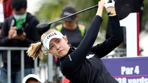 <p>               Nelly Korda of the United States watches her tee shot on the first hole during the first round of the Taiwan Swinging Skirts LPGA at the Miramar Golf Country Club in New Taipei City, Taiwan, Thursday, Oct. 31, 2019. (AP Photo/Chiang Ying-ying)             </p>