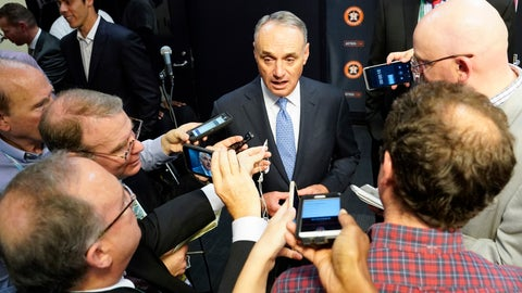 <p>               MLB commissioner Robert D. Manfred Jr. talks to the media before Game 2 of the baseball World Series between the Houston Astros and the Washington Nationals Wednesday, Oct. 23, 2019, in Houston. (AP Photo/David J. Phillip)             </p>