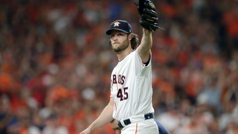 <p>               Houston Astros starting pitcher Gerrit Cole waves to fans as he leaves during the eighth inning of Game 2 of the baseball team's American League Division Series against the Tampa Bay Rays in Houston, Saturday, Oct. 5, 2019. (AP Photo/Michael Wyke)             </p>