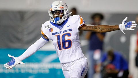 <p>               Boise State wide receiver John Hightower celebrates after scoring a touchdown against UNLV during the first half of an NCAA college football game Saturday, Oct. 5, 2019, in Las Vegas. (AP Photo/John Locher)             </p>