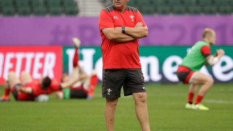 <p>               Wales coach Warren Gatland watches during training at the Oita Stadium in Oita, Japan, Tuesday Oct. 8, 2019. Wales will play against Fiji in their Rugby World Cup Pool D game on Oct. 9. (AP Photo/Aaron Favila)             </p>