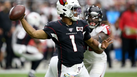 <p>               Arizona Cardinals quarterback Kyler Murray (1) throws against the Atlanta Falcons during the first half of an NFL football game, Sunday, Oct. 13, 2019, in Glendale, Ariz. (AP Photo/Ross D. Franklin)             </p>