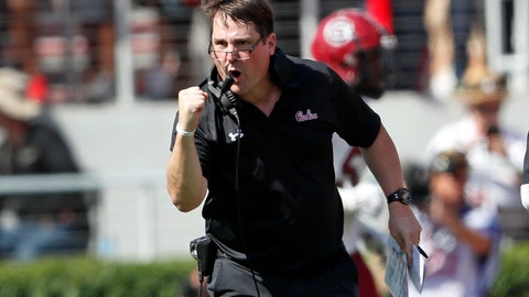 <p>               South Carolina head coach Will Muschamp reacts after his team returned an interception of a touchdown in the first half of an NCAA college football game against Georgia, Saturday, Oct. 12, 2019, in Athens, Ga. (AP Photo/John Bazemore)             </p>