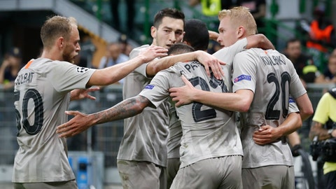 <p>               Shakhtar's players celebrate after scoring their side's opening goal during the Champions League group C soccer match between Atalanta and Shakhtar Donetsk at the San Siro stadium in Milan, Italy, Tuesday, Oct. 1, 2019. (AP Photo/Antonio Calanni)             </p>