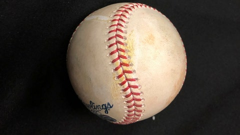 <p>               This photo shows the home-run ball hit by Washington Nationals' Howie Kendrick off Houston Astros pitcher Will Harris in the seventh inning of Game 7 at their baseball World Series in Houston, early Thursday, Oct. 31, 2019. His go-ahead, two-run homer lifted the Nationals over the Astros 6-2 Wednesday, Oct. 30 for his team's first World Series title. Kendrick immediately donated the ball, with a yellow streak of paint from hitting the screen, to the Hall of Fame, a part of his career to be celebrated at Cooperstown. (AP Photo/Ron Blum)             </p>