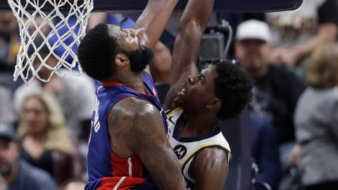 <p>               Indiana Pacers' Aaron Holiday, right, has his shot blocked by Detroit Pistons' Andre Drummond during the first half of an NBA basketball game Wednesday, Oct. 23, 2019, in Indianapolis. (AP Photo/Darron Cummings)             </p>