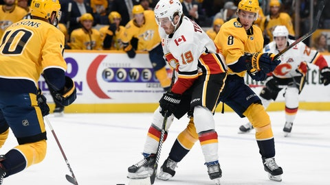 <p>               Calgary Flames left wing Matthew Tkachuk (19) moves the puck between Nashville Predators center Colton Sissons (10) and Kyle Turris (8) during the first period of an NHL hockey game Thursday, Oct. 31, 2019, in Nashville, Tenn. (AP Photo/Mark Zaleski)             </p>