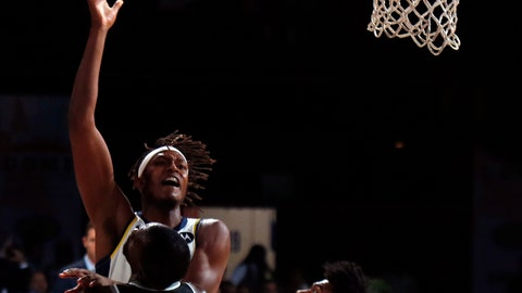 <p>               Indiana Pacers player Myles Turner plays against Sacramento Kings at the NBA India Games 2019, in Mumbai, India, Saturday, Oct. 5, 2019. (AP Photo/Rajanish Kakade)             </p>