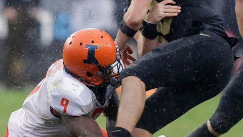 <p>               Purdue quarterback Jack Plummer (13) fumbles after getting hit by Illinois linebacker Dele Harding (9) during the second half of an NCAA college football game, Saturday, Oct. 26, 2019, in West Lafayette, Ind. (AP Photo/Darron Cummings)             </p>