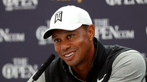 "<p>               FILE - In this July 16, 2019, file photo, Tiger Woods speaks at a press conference ahead of the start of the British Open golf championships at Royal Portrush in Northern Ireland. Tiger Woods is writing what he describes as his definitive story in a memoir titled ""Back."" HarperCollins Publishers announced Tuesday, Oct. 15, 2019, it has acquired rights to the first memoir written by Woods. Still be determined is when it will be published. (AP Photo/Matt Dunham, File)             </p>"