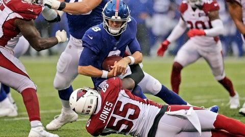 <p>               Arizona Cardinals' Chandler Jones (55) sacks New York Giants quarterback Daniel Jones (8) during the second half of an NFL football game, Sunday, Oct. 20, 2019, in East Rutherford, N.J. (AP Photo/Adam Hunger)             </p>