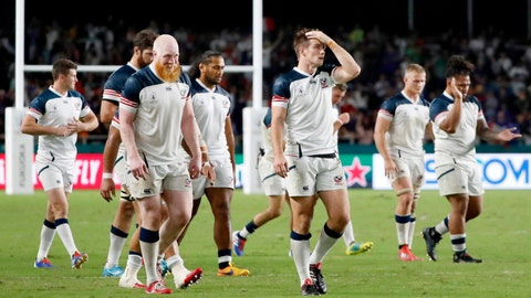 <p>               The United States team react following their Rugby World Cup Pool C game at Fukuoka Hakatanomori Stadium between France and the United States in Fukuoka, Japan, Wednesday, Oct. 2, 2019. France defeated the United States 33-9.(Jun Hirata/Kyodo News via AP)             </p>