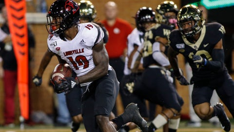 <p>               Louisville running back Hassan Hall (19) returns a kickoff for a touchdown during the first half against Wake Forest in an NCAA college football game in Winston-Salem, N.C., Saturday, Oct. 12, 2019. (AP Photo/Nell Redmond)             </p>
