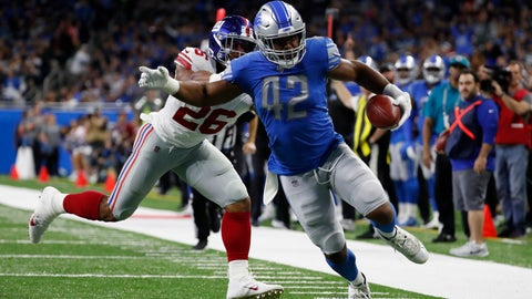 <p>               Detroit Lions outside linebacker Devon Kennard (42), chased by New York Giants running back Saquon Barkley (26), picks up a fumble and returns 13-yards for a touchdown during the first half of an NFL football game, Sunday, Oct. 27, 2019, in Detroit. (AP Photo/Rick Osentoski)             </p>