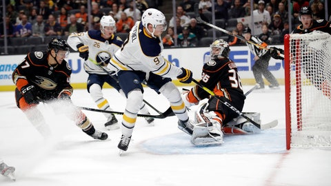<p>               Buffalo Sabres' Jack Eichel (9) scores past Anaheim Ducks goaltender John Gibson, right, during the first period of an NHL hockey game Wednesday, Oct. 16, 2019, in Anaheim, Calif. (AP Photo/Marcio Jose Sanchez)             </p>