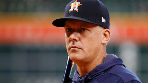 <p>               Houston Astros manager AJ Hinch watches during batting practice before Game 1 of baseball's American League Championship Series against the New York Yankees Saturday, Oct. 12, 2019, in Houston. (AP Photo/Matt Slocum)             </p>