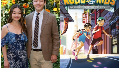 "<p>               This combination photo shows sibling Olympic ice dancers Maia and Alex Shibutani, and a cover of their middle grade book ""Kudo Kids: The Mystery of the Masked Medalist,"" scheduled for release on May 12. (AP Photo, left, Razorbill via AP)             </p>"