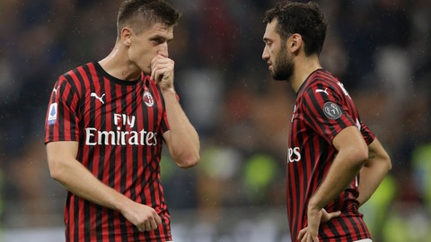 <p>               AC Milan's Krzysztof Piatek, left, and AC Milan's Hakan Calhanoglu react at the end of Serie A soccer match between AC Milan and Lecce, at the San Siro stadium in Milan, Italy, Sunday, Oct.20, 2019. (AP Photo/Luca Bruno)             </p>