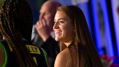 <p>               Oregon's Sabrina Ionescu speaks to reporters during the Pac-12 Conference women's NCAA college basketball media day Monday, Oct. 7, 2019, in San Francisco. (AP Photo/D. Ross Cameron)             </p>