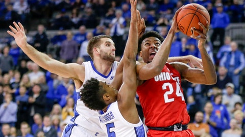 <p>               FILE- In this Nov. 15, 2018, file photo, Ohio State's Andre Wesson (24) is defended by Creighton's MitchBallock, left, and Ty-ShonAlexander (5), in an NCAA college basketball game in Omaha, Neb. A strong finish to last year's regular season could not push Creighton into the NCAA Tournament. The Bluejays are using the disappointment for motivation. Preseason All-Big East pick Alexander is among four returning starters. Marcus Zegarowski, Davion Mintz and Mitch Ballock also are back. (AP Photo/Nati Harnik, file)             </p>