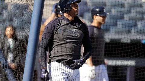 <p>               New York Yankees' Aaron Hicks takes batting practice at Yankee Stadium Thursday, Oct. 10, 2019, New York. The Yankees will play the winner of tonight's Tampa Bay Rays at Houston Astros American League Division Series game in Game 1 of the American League Championship Series on Saturday, Oct. 12 in New York. (AP Photo/Frank Franklin II)             </p>