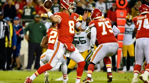 <p>               Kansas City Chiefs quarterback Matt Moore (8) throws a pass during the first half of an NFL football game against the Green Bay Packers in Kansas City, Mo., Sunday, Oct. 27, 2019. (AP Photo/Ed Zurga)             </p>