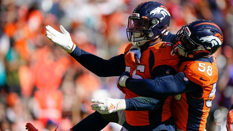 <p>               Denver Broncos outside linebacker Bradley Chubb, left, celebrates his sack with teammate outside linebacker Von Miller during the first half of an NFL football game against the Jacksonville Jaguars, Sunday, Sept. 29, 2019, in Denver. (AP Photo/Jack Dempsey)             </p>