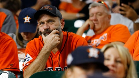 <p>               Fans watch during the eighth inning of Game 2 of the baseball World Series between the Houston Astros and the Washington Nationals Wednesday, Oct. 23, 2019, in Houston.(AP Photo/Matt Slocum)             </p>