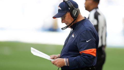 <p>               Denver Broncos head coach Vic Fangio looks at his play chart during the second half of an NFL football game against the Indianapolis Colts, Sunday, Oct. 27, 2019, in Indianapolis. (AP Photo/Michael Conroy)             </p>