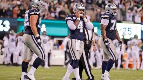 <p>               Dallas Cowboys quarterback Dak Prescott, center, reacts after not completing a two-point conversion during the second half of an NFL football game, Sunday, Oct. 13, 2019, in East Rutherford, N.J. The Jets defeated the Cowboys 24-22. (AP Photo/Adam Hunger)             </p>