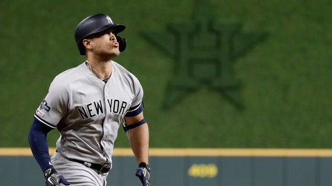 <p>               New York Yankees' Giancarlo Stanton rounds the bases after a home run during the sixth inning in Game 1 of baseball's American League Championship Series against the Houston Astros Saturday, Oct. 12, 2019, in Houston. (AP Photo/Eric Gay)             </p>