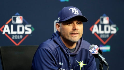 <p>               Tampa Bay Rays manager Kevin Cash takes part in a news conference, Thursday, Oct. 3, 2019, in Houston. The Rays will play the Houston Astros in the first game of an American League Division Series on Friday. (AP Photo/Eric Gay)             </p>