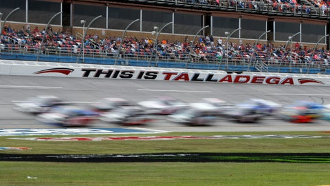 <p>               Trucks pass through the tai-oval during the Sugarlands Shine 250 at Talladega Superspeedway, Saturday, Oct 12, 2019, in Talladega, Ala. (AP Photo/Butch Dill)             </p>