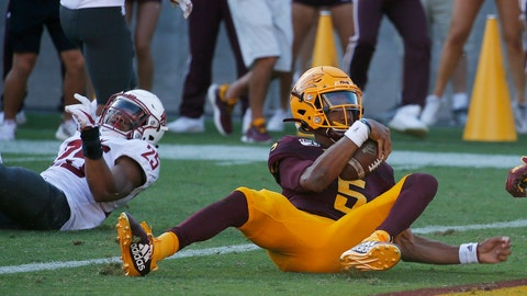 <p>               Arizona State quarterback Jayden Daniels (5) scores a touchdown as he eludes Washington State safety Skyler Thomas (25) during the second half of an NCAA college football game Saturday, Oct. 12, 2019, in Tempe, Ariz. (AP Photo/Ross D. Franklin)             </p>